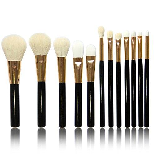 Vococal® 12 Pcs Manche Bois Laine-Comme Cheveux Visage Maquillage Brosse Cosmétiques Set