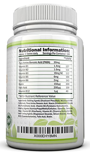 Vitamin B Complex 180 tablets (6 month supply) – Contains all Eight B Vitamins in 1 Tablet, Vitamins B1, B2, B3, B5, B6, B12, D-Biotin & Folic Acid