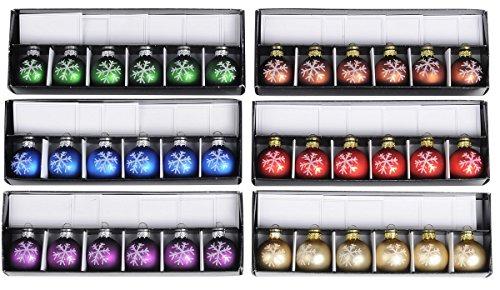 36 Tischkartenhalter Weihnachtskugel mit Tischkarte Glas Kugel Ø 4 cm Weihnachten Schneeflocke in 6 Farben -
