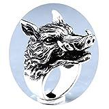 Amody Edelstahlringe für Männer Gotischer Ring der Herren Dominanten Boar Schwarzes Silber Ringe Größe 57 (18.1)