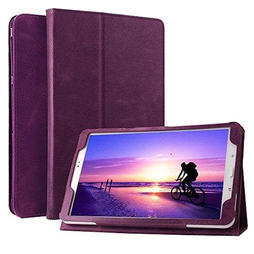 Funda de cuero iPad Air, Boriyuan Funda de cuero Natural Hide genuino con función ejecutiva Multi Función de cuero Funda con imán incorporado para dormir y Despertarse Funda de diseño para Apple iPad Air, Púrpura