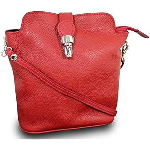 Made In Italia Luxus sacchetti di spalla delle signore della frizione Cross Body Bag pelle bovina reale RV Red