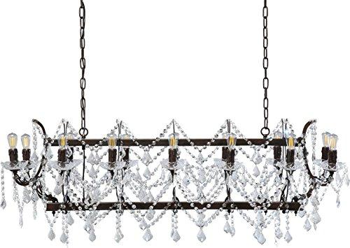 Kare Hängeleuchte Chateau Crystal Rusty, barocke Deckenleuchte, Esszimmer Lampe, (HxBxT),...