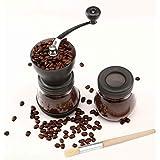 Cooko Manuell kaffekvarn, premium justerbar grovhet keramisk burr, bärbar handvevkvarn för resor eller camping, med extra för