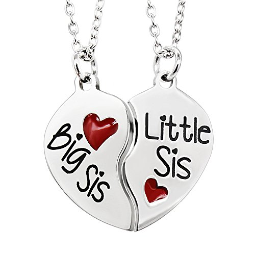 2pcs Big Little Sister Couple Necklace Set - Stainless Steel Broken Heart Pendant Necklace Family Gift …