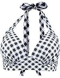 Laorchid Vintage Women Bikini Tops Halter Neck Padded Plus Size