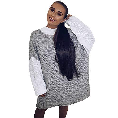 iHENGH Vorweihnachtliche Karnevalsaktion Damen Herbst Winter Bequem Lässig Mode Frauen Womens Casual Langarm Pullover O Hals Stitching Farbe Pullover ()