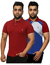 Yross Maroon & Royal Blue Slim Fit Polo T-Shirt Combo Pack Of 2 - B073S3D6BR