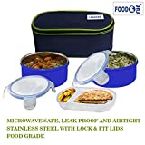 FOOD & FUN Microwave Safe Double Decker Stainless Steel Insulated Lunch Box Set