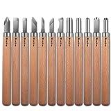 Preciva Legno scalpelli Set di coltelli, 12 Pièces / DIY Scultura Coltello Scalpello fai da te / Strumenti di legno del mestiere / Amateur scultore cera