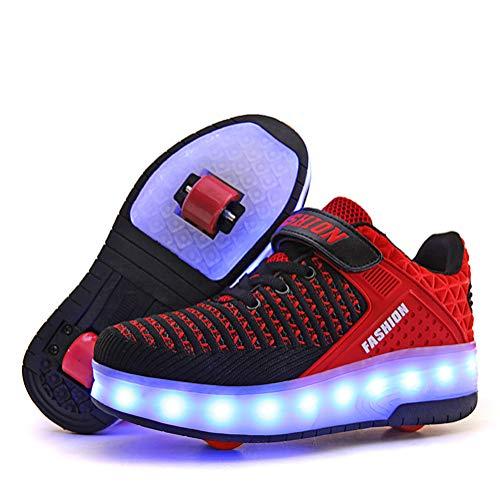 Outdoor Fashion Kinder Roller Skate Schuhe wiederaufladbar USB mit Einzel- und zwei Rädern Kinder Atmungsaktiv Street Sneaker Junge Mädchen LED Lampe Schuhe, Blackdoublewheel - Größe: 29 EU