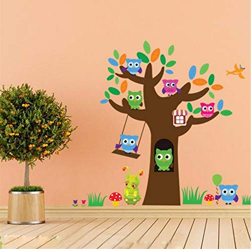 qwerlp-cartoon-forest-green-tree-branch-animal-owl-wall-stickers-for-kids-rooms-birds-flying-boys-gi