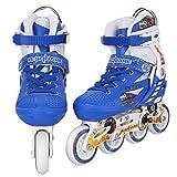 Tomasa Inline skates Unisex Erwachsene Kinder Teenager Indoor Outdoor Rollerblade inliner Verstellbare Schlittschuhe Größe: M/L: 23 x 28 x 40/43 cm (Blau-2, L)