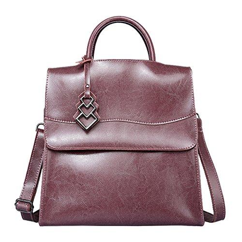 Valin Q0833 Damen Leder Handtaschen Satchel Tote Taschen Schultertaschen Violett