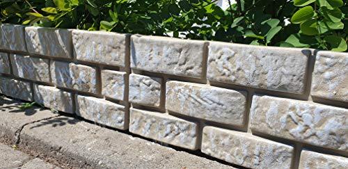 WOOLUX GARDEN Zaun 4 TLG. Beeteinfassung Rasenkante Gartenzaun Sandstein Optik 1,74 m