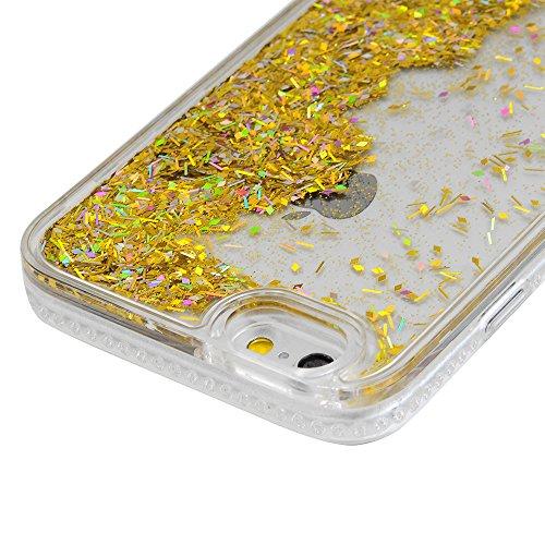 iPhone 6 / iPhone 6S Coque Mavis's Diary Housse Étui Bumper Coque de Protection PC et TPU Silicone Gel Liquide Bling Sparkle Poudre Coque Antichoc Ultra Léger Souple Flexible Portable Douce Phone Case Or