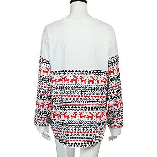 Noël Sweats à Capuche,Homebay Les Femmes de NoëL T-Shirt Manches Longues T-Shirts Hoodies Loose Tops Blouse Blanc