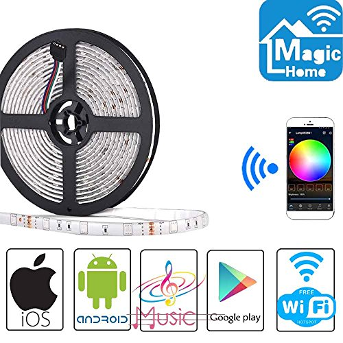 Simfonio LED Strip 5m LED Streifen - LED Band Arbeitet mit Alexa, Google Home, IFTTT, Wifi Wireless Smart Phone Gesteuert - LED Stripes 5m Wasserdicht 150Leds 5050 SMD RGB LED Strip Full Kit