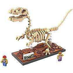 Loz 9026. Kit de construccion miniaturizada. Velociraptor Fossil. 620 piezas