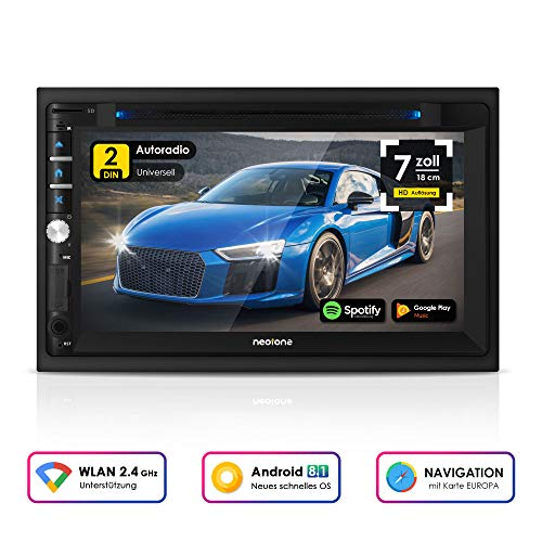 NEOTONE NDX-360A | 2DIN Autoradio | GPS Navigation mit Europakarten 2019 | DAB+ Unterstützung | 7 Zoll | USB l SDHC | Full HD | 16GB integriert | WLAN | Bluetooth | MirrorLink | OBD 2 | RDS 2 Ghz-cd