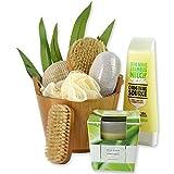 Geschenkidee Parfümerie und Kosmetik - Wellnessgeschenke Set BAMBOO handverpackt mit Peelingkissen und Massagebürste sowie Nagelbürste und Bambus Duftkerze sowie Harrbürste als Einzugsgeschenke