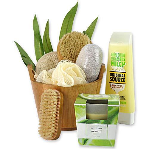 Home-source-bambus (Reimarom Handverpacktes Wellness Geschenkset Bamboo mit Veganer Shower Milk Grüne Banane & Bambusmilch von ORIGINAL Source, Bambus Badebürste und Duftkerze sowie Peelingschwamm)