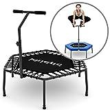 Kinetic Sports Fitness Trampolin Indoor Mini Trampolin Ø 110 cm, höhenverstellbarer Haltegriff, Gummiseilfederung, Randabdeckung, belastbar bis 120 kg