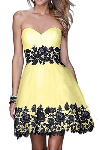 Victory Bridal 2015 Neu Sommer Cocktailkleider Partykleider Tanzenkleider Abendkleider Mini Kurz mit Spitze Gelb