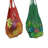 Yuccer Einkaufstasche Netz, Wiederverwendbare Obst Gemüsebeutel Shopping String Bag Einkaufsbeutel Obst Gemüse (B Rot + Grün)