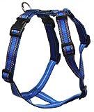 Feltmann Mopsgeschirr Hundegeschirr Soft Nylon, Blau mit Muster, 7-13 kg, 20mm