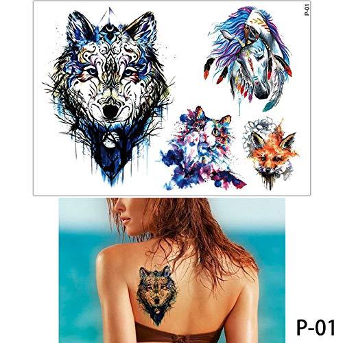 3pcs colorato Disegno Tatuaggio Fenicottero Carino Gatto Arte Tatuaggio temporaneo Adesivo Serie P 01 15x21cm