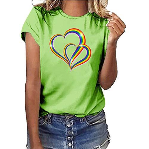 Yvelands-Damen Tops T-Shirt Mädchen Plus Size Print Shirt Kurzarm Bluse Tops(Green4,L)