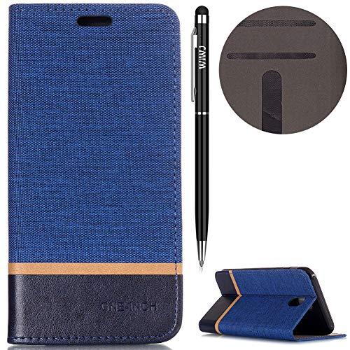WIWJ Schutzhülle für Galaxy J7 2017(EU Version) Handyhülle Leder Case für Galaxy J7 2017 Hülle [Tricolor Stark magnetisch Automatische Absaugung Handy Case]Hülle für Samsung Galaxy J7 2017-Blau