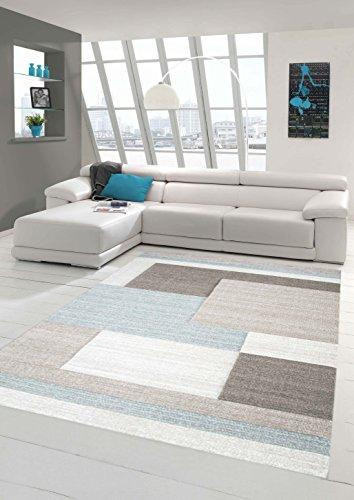 Teppich-Traum Designerteppich Moderner Teppich Wohnzimmerteppich Kurzflor Teppich mit Konturenschnitt Karo Muster Pastellfarben Grau Beige Blau, Größe 80x150 cm