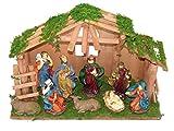 LD Natale decorazione Natale Presepe 10pezzi greppia Statuette per il presepio Betlemme in legno Santo (Consegna è 3–7giorni)