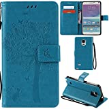 Ooboom® Samsung Galaxy Note 4 Case Cat Tree Pattern PU Leather Flip Cover Wallet Stand with Card/Cash Slots Packet Wrist Strap Magnetic Clasp for Samsung Galaxy Note 4 - Blue