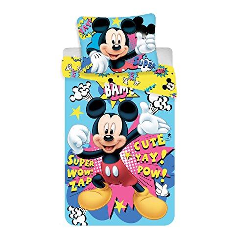 Jerry Fabrics Juego de Cama para Niños con Cremallera, Diseño Mickey and Friends, Poliéster, 200x140x0.5 cm