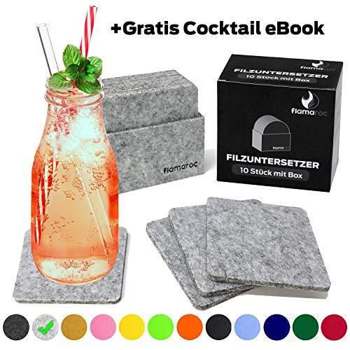 flamaroc® Filzuntersetzer Eckig - 10er Untersetzer Filz Premium-Set mit Box Hell grau, Stylishe Glasuntersetzer in grau für Glas, Getränke, Gläser (10 cm rechteckig, hellgrau)