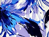 John Critère Large Imprimé floral crêpe Robe Tissu Bleu–au mètre