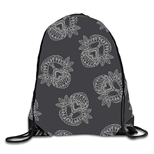 uykjuykj Tunnelzug Rucksäcke, Stylish Floral Sackpack Drawstring Backpack Waterproof Gymsack Daypack for Men Women Old Skull9 Lightweight Unique 17x14 IN