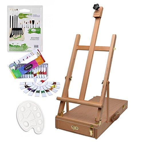 Artina kit d'initiation - Ensemble de Peinture Aquarelle - pour Artistes Débutant - Boite Mallette chevalet de Table + Accessoires