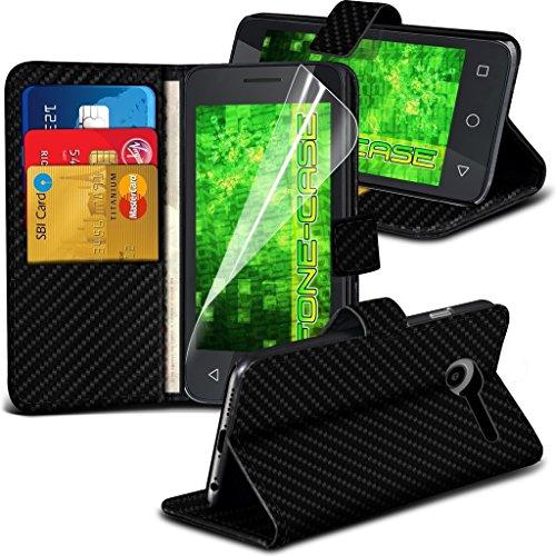 Fone-Case (Black Carbon) High Quality Google Pixel XL Hülle Abdeckung Cover Case schutzhülle Tasche Executive-Mappen-Buch-Art-Abdeckung gebildet vom PU-Leder mit 3 Kreditkarte-Halter-Steckplätzeund 1 Displayschutzfolie