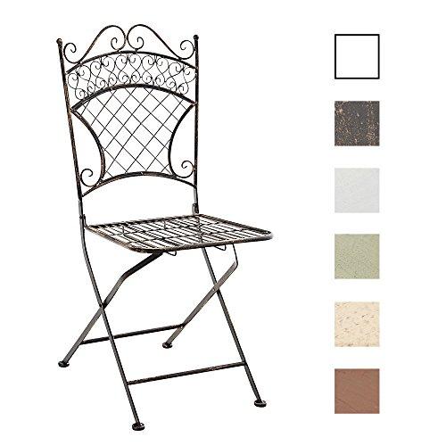 eisenstuhl garten CLP Eisen-Klappstuhl ADELAR Design I Klappbarer Gartenstuhl mit edlen Verzierungen I In Verschiedenen Farben erhältlich Bronze