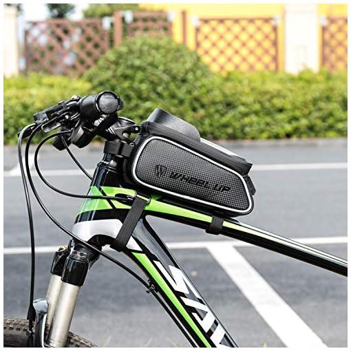 """Tricodale Borsa Telaio Bici, Borsa Manubrio Bici 6.3"""" Impermeabile Borsa Porta Telefono Bicicletta (con Cover Protettiva) Supporto Bici Decathlon/MTB/BMX, Accessori Bici Corsa"""