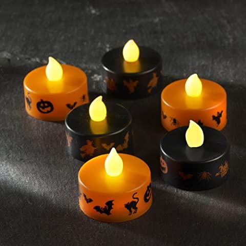 Lot de 6 Bougies Chauffe-Plat LED Halloween Noires et Oranges par Lights4fun