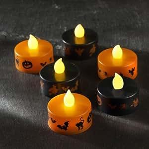 Set of 6 Black & Orange Halloween Battery LED Tea Lights by Lights4fun