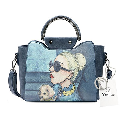 Yoome Stampa Borse alla moda per le donne Borsa a manico superiore Vegan Leather New Chic Bags Crossbody - Blu Blu scuro