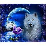 Tianmai caliente nuevo Diy 5d Diamond pintura Kit de bordado de diamantes cristales rhinestone pintura pegada kits de pintura por número Kit de manualidades de punto de decoración del hogar pared adhesivo–luna noche perro, 40x 30cm