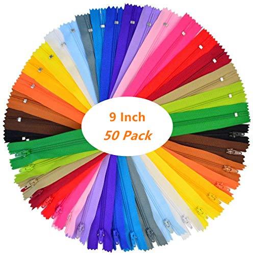 Tweal cerniera invisibile,chiusure lampo 50 pezzi nylon bobina cerniere per sartoria artigianale per cucito e artigianato 25 colori 23cm