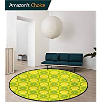 RUGSMAT Lime Green Round Rug,Cloudy Shade Of Color Pastel Toned Hazy Backdrop Irish Tones Artistic Digital Carpet Door Pad For Bedroom/Living Room/Balcony/Kitchen Mat,Lime Green
